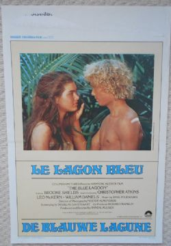 Blue Lagoon, Original Belgian Film Poster, Brooke Shields, Christopher Atkins 80